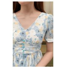 Váy Voan Xếp Ly Eo Một Hàng Cúc GV033 - Genni