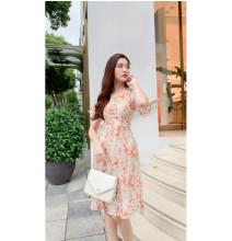 Váy Hoa Cổ Tròn Nhún Eo GV032 - Genni
